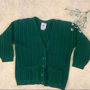 Cotton Ginny | Green Knit Button Up Cardigan